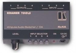 Kramer 4x4A -Коммутатор 4x1 / усилитель-распределитель 1:4 звуковых стереосигналов с регулировкой уровня, 100 кГц - фото 54791