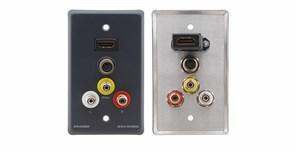Kramer WAV-5H -Настенная панель-переходник с проходными разъемами для HDMI (розетки), s-Video (розетки), композитного видео (розетки RCA) и стерео аудио (розетки RCA)