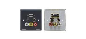 Kramer WAV-6YC-Настенная панель-переходник с проходными разъемами VGA (розетки HD-15), s-Video, cтерео аудио (3,5-мм розетки), композитного видео и аудио (розетки RCA)