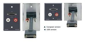 Kramer WAV-DA2-Настенная панель-переходник DVI (розетка-розетка) и стерео аудио (2xRCA розетка-розетка)
