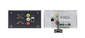 Kramer WP-209-Усилитель сигнала VGA (с регулировкой уровня и АЧХ) и стерео аудио (с регулировкой уровня), проходные гнезда для композитного видео и стерео аудио (разъемы RCA) и для Ethernet (RJ-45)