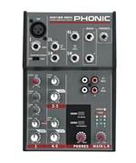PHONIC AM 120 MKII Микшерный пульт компактный, 1 моно мик/лин вход + 2 стереовхода, дополнительные в