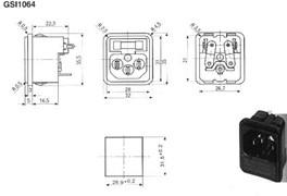Kaiser PC-GSI1064 - Сетевая приборная вилка с гнездом для предохранителя на защелках