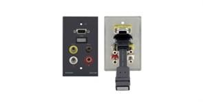Kramer WAV-6H-Настенная панель-переходник HDMI (розетка-розетка), VGA (розетка-розетка), стерео аудио (3,5-мм розетка-розетка) и 3xRCA (розетка-розетка)