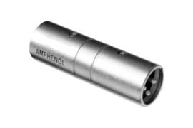 Amphenol AC3M3MBW Адаптер XLR 3 штекер - XLR 3 штекер, черненый корпус