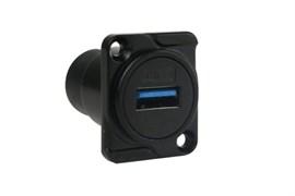 Amphenol AC-USB3-AAB USB A - USB A D SHELL PANEL BLACK