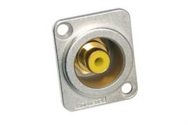 Amphenol ACJD-YEL Панельный разъем RCA, M серия, Мама, Никель, Желтый, Позолоченные контакты