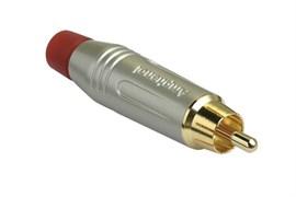 Amphenol ACPR-SRD Кабельный разъем RCA, M серия, Папа, Матовый никель, Красный, Позолоченные контакты