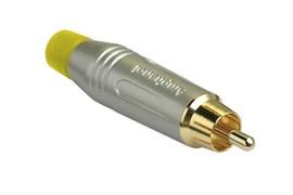 Amphenol ACPR-SYL Кабельный разъем RCA, M серия, Папа, Матовый никель, Желтый, Позолоченные контакты