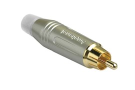 Amphenol ACPR-SWH Кабельный разъем RCA, M серия, Папа, Матовый никель, Белый, Позолоченные контакты