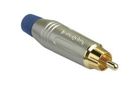 Amphenol ACPR-SBL Кабельный разъем RCA, M серия, Папа, Матовый никель, Голубой, Позолоченные контакты
