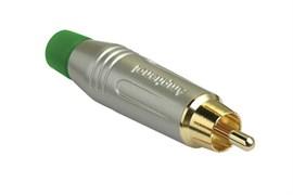 Amphenol ACPR-SGR Кабельный разъем RCA, M серия, Папа, Матовый никель, Зеленый, Позолоченные контакты