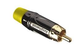 Amphenol ACPL-CYL Кабельный разъем RCA, M серия, Папа, Черный хром, Желтый, Позолоченные контакты