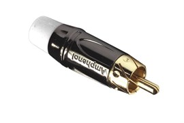Amphenol ACPL-CWH Кабельный разъем RCA, M серия, Папа, Черный хром, Белый, Позолоченные контакты