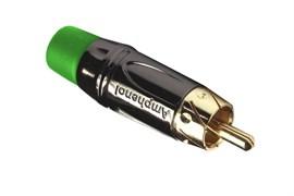 Amphenol ACPL-CGR Кабельный разъем RCA, M серия, Папа, Черный хром, Зеленый, Позолоченные контакты