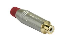 Amphenol ACJR-SRD Кабельный разъем RCA, M серия, Мама, Матовый никель, Красный, Позолоченные контакты