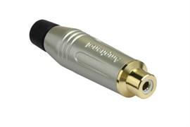 Amphenol ACJR-SBK Кабельный разъем RCA, M серия, Мама, Матовый никель, Черный, Позолоченные контакты