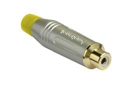 Amphenol ACJR-SYL Кабельный разъем RCA, M серия, Мама, Матовый никель, Желтый, Позолоченные контакты