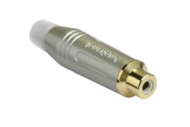 Amphenol ACJR-SWH Кабельный разъем RCA, M серия, Мама, Матовый никель, Белый, Позолоченные контакты