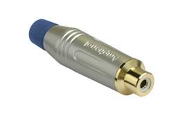 Amphenol ACJR-SBL Кабельный разъем RCA, M серия, Мама, Матовый никель, Голубой, Позолоченные контакты
