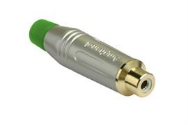 Amphenol ACJR-SGR Кабельный разъем RCA, M серия, Мама, Матовый никель, Зеленый, Позолоченные контакты