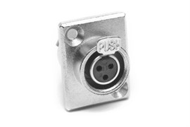 Amphenol AG3FCRV Панельный разъем MiniXLR, G Тип, Мама, Металл, Штампованные контакты, Вертикально в ПП, 3 контакта